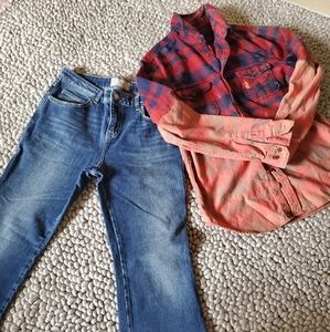 Free People set, flares & bleached flannel, 30